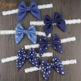 Discount denim hair accessories - 6pcs  Lot Trendy Baby Girl Denim Butterfly Elastic Lace Bow Headband 2017 New Headwrap For Kids Children Bandeau Headwea