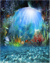 8x12ft Sunshine Attraverso Deep Blue Sea Plants Fishes Mermaid Photo Background Studio Princess Photo Booth Fondali per Matrimoni
