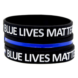 100PCS Blue Lives Matter Silicone Rubber Bracelet Debossed Logo and Filled Special Ink Hurtless To Body on Sale