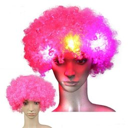 Afro costume online shopping - Halloween disco curly wig Rainbow Afro wigs Clown Child Adult Costume Football Fan led glowing Wigs party Hair wigs for football Fan Fun