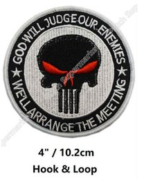 Wholesale military punisher patches resale online - 4 quot White Black Red Eye PUNISHER GOD WILL JUDGE OUR ENEMIES MILITARY MORALE MILSPEC SWAT Hook Loop Badge TV Movie Series