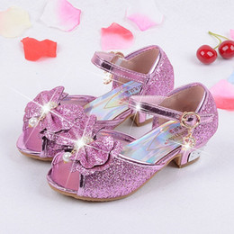 ankel heels NZ - frozon princess sandals girls summer ankel strap shoes elegant bow tie party shoes for kids girl fashion PU sequin dance shoe for sweet girl
