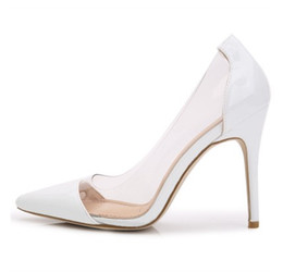 White Glitter Peep Toe UK - big sale free shipping Nude color new European and American summer transparent pointed high heels sexy wedding shoes 374