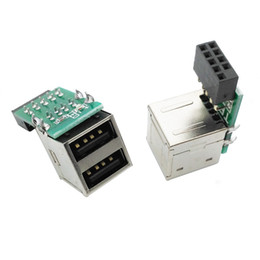 China PC Host Case Internal Motherboard USB 2.0 Hub 9Pin to 2 Port USB A Female Splitter Converter PCB Board Extender Card suppliers