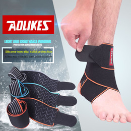 Discount basketball silicone - Wholesale- AOLIKES 1PCS Silicone Ankle Support Strap Basketball Football Professional Adjustable Ankle Sleeve Protection