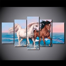 Discount abstract canvas horse oil painting - 5 Pcs Set Framed HD Printed Brown And White Horses Canvas Art Painting Poster Picture For Room Wall Decorativo