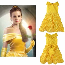 Costumes De Fête Jaune Pas Cher-Baby Yellow Pageant Princesse Robes Beauté Et La Bête Enfant Enfants Longs Robes de Personnage Party Cosplay Costume Clothing DHL Fast Shipping
