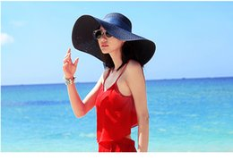 $enCountryForm.capitalKeyWord NZ - 2017 Summer and spring Floppy wide brim Straw Hats with ribbon Wide Brimmed Sun Hats Foldable Beach Hats For Women With Big Heads