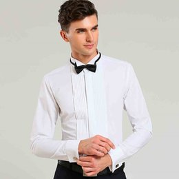Stage Shirts NZ - French Cuff Solid Color Wing Tip Collar Men Formal Dress Shirts Men's Tuxedo Shirts Bridegroom Wedding Shirts Men Stage Costume