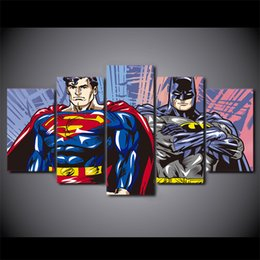 $enCountryForm.capitalKeyWord Canada - 5 Pcs Set Framed HD Printed mavel super man batman Painting wall art room decor print poster picture on canvas Free shipping ny-1019