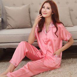 Wholesale- Chinese satin Pyjamas Couple pajama sets short sleeve pijamas  women s sleep  lounge female homwear faux silk lady s sleepwear cheap polka  dots ... 7d5ab5d15