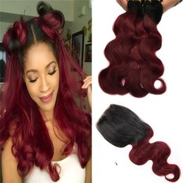 burgundy ombre hair bundles closure NZ - 99j Ombre Hair With Lace Closure Two Tone 1b 99j Burgundy Lace Closure With Malaysian Virgin Body Wave Human Hair Bundles 4pcs lot