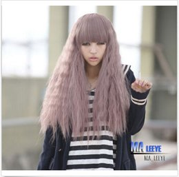 purple hair lolita cosplay 2019 - 100% New High Quality Fashion Picture full lace wigs Hot Harajuku Lolita Long Corn Curly Wavy Full Wigs Hair Cosplay Tar