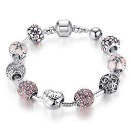 $enCountryForm.capitalKeyWord NZ - Fashion Jewelry 925 Sterling Silver charm Bracelets & Bangle for women Wedding European Strand Beads Enamel Heart Flowers Crystal bracelet