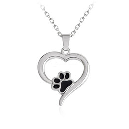 Chinese  925 Silver Plating Heart Paw Print Necklace Pet Memorial Personality Cat Dog Lovers Necklace Jewelry Wholesale manufacturers