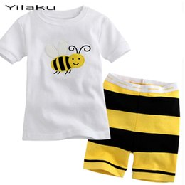 Vêtements De Pyjama En Été Pas Cher-Vente en gros- Bébés garçons filles été vêtements de nuit vêtements ensemble garçons fille pyjama Set Cartoon enfants Pijamas enfants pyjamas courtes vêtements CF228