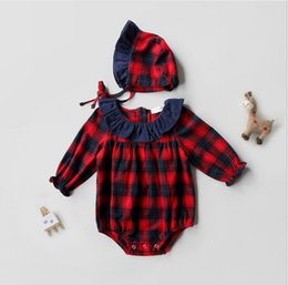 Garçon De Fille En Bambou Ruffled Pas Cher-Noël Newborn Kids Girls Plaid Rompers Toddler Mode Combinaisons en coton Babies Autumn Ruffles Romper 2017 bebe clothes