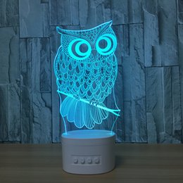 cards slots NZ - 3D Owl LED Illusion Lamp Bluetooth Speaker with 5 RGB Lights TF Card Slot DC 5V USB Charging Wholesale Dropshipping