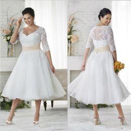 Bohemian tea length wedding dress online shopping - Vintage Lace Appliques Plus Size Bohemian Wedding Dresses With Sheer Half Sleeves s V Neck Tea Length A Line Beach Bridal Gowns