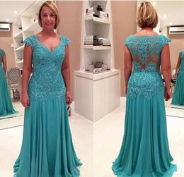brides mom silver dress 2019 - Plus Size 2017 New Chiffon V Neck A Line Mother of the Bride Dresses Sleeveless Moms Gowns Appliques Floor Length Evenin