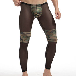 China Sheer Nylon Men Sleep Underpants Camouflage Patchwork Sexy See Through Transparent Gay Male sleep bottom Panties Black suppliers