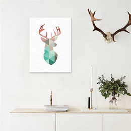 wall art large canvas prints NZ - Geometric Coral Framed Deer Head Canvas Art Print Poster with frames, Mint Deer Wall Pictures for Home Decoration, Wall Art Decor