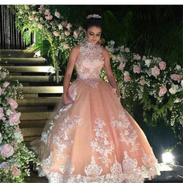 Discount flower ball navy - luxurious 2019 Blush Prom Dresses with Lace Appliques High Neck Evening Dress Robe De Soiree Party Gowns with Beaded DTJ