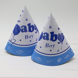 Chapeau De Fête Cône Pas Cher-Vente en gros- Nouveau Baby Shower Theme Cartoon Enfants Décoration Anniversaire Favors Celebration chapeau Party Supplies Papier Tricorne caps 6pcs cône