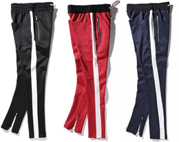 Wholesale 2017 New side zipper pants hip hop Fear Of God Fashion urban clothing red bottoms justin bieber FOG jogger pants Black red blue
