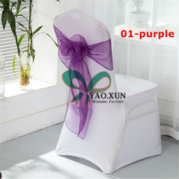 $enCountryForm.capitalKeyWord NZ - Cheap Price 50pcs White Spandex Chair Cover With 50pcs Purple Organza Chair Sash