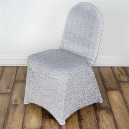 Gold Chairs For Weddings NZ - Gold And Silver Color Shiny Lycra Spandex Chair Cover For Wedding And Party