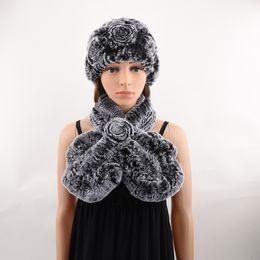 $enCountryForm.capitalKeyWord NZ - Hat And Scarf Set of Natural Rex Rabbit Fur Women Knitted Flower For Winter, Handmade Thick Knitted Warm Fur Cap Muffler