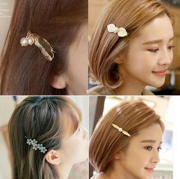 $enCountryForm.capitalKeyWord NZ - Best gift Hair ornaments sweet metal texture flowers leaves hair clips Liuhai side folder retro twist clip FJ013 mix order 60 pieces a lot