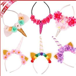 2019 Fashion 1pc Headband Glitter Unicorn Horn With Chiffon Flowers Hair Hoop Party Hair Styling Tool Braiders For Kids 6 Colors Choice Materials Hair Care & Styling