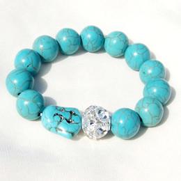 $enCountryForm.capitalKeyWord Canada - Vintage Buddha Bead Charm Bracelet Elastic Chain Natural Stone Turquoise Bracelets Shiny Crystal Ball Beaded Bangle for women men Jewelry