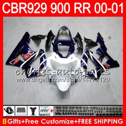 $enCountryForm.capitalKeyWord Australia - Body For HONDA CBR 929RR CBR900RR CBR929RR 00 01 CBR 900RR TOP Blue white 67NO11 CBR929 RR CBR900 RR CBR 929 RR 2000 2001 Fairing kit 8Gifts