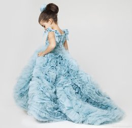 Barato Toddler Flor Girl Dresses Train-Dusty Blue Organza Flower Girls Vestidos para casamentos 2017 Luxo Cute Ruffles Train Beaded Lace Toddler First Communion Dresses