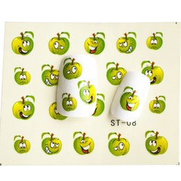 Barato Pregos De Decalque De Água-Atacado - 1 folha Funny Green Apple Water Transfer Foil Nail Art Sticker DIY Manicure Decorações Decals Nails Wraps Styling Tools STZ08