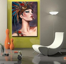 $enCountryForm.capitalKeyWord NZ - Framed Smoking beautiful Girl,Pure Hand Painted Brian Dirtyland Modern figure Pop Art Oil Painting On Quality Canvas.Multi sizes P092