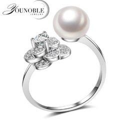 $enCountryForm.capitalKeyWord NZ - YouNoble 100% Natural Pearl Rings,8-9mm White Fashion Natural Freshwater Pearls 925 Silver Adustable Ring Geometric Ring