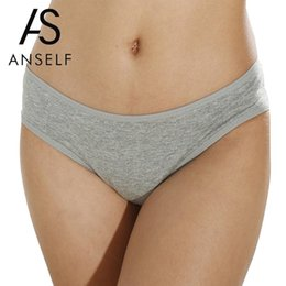 $enCountryForm.capitalKeyWord NZ - ANSELF Sexy Hot Women Cotton Briefs Solid Color Low-Rise Period Panties Soft Comfortable Lingerie Girls Underpants Underwear
