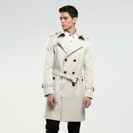 Wholesale 6xl men pea coats resale online - 6XL Men s trench coat size custom tailor England man s double breasted long pea coat trench slim fit classic trenchcoat as gifts