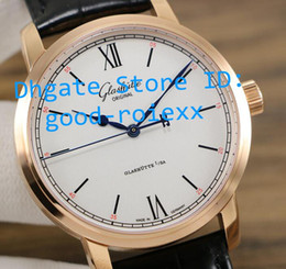 $enCountryForm.capitalKeyWord NZ - Top Quality Mens Automatic Cal.39-59 Rose Gold Watch White Dial Senator Watches Men Calf Leather Glashutte Transparent Sapphire Wristwatches