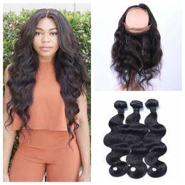 vietnamese virgin hair closure 2019 - Peruvian Virgin Hair With Closure Body Wave 360 Lace Frontal Closrue With 3 Bundles 4pcs Lot 100% Human Hair G-EASY chea
