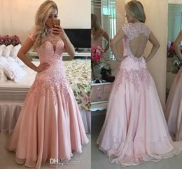 Short Red Lace Prom Vintage Dress Australia - Vintage High Neck Short Sleeves Pink Prom Dresses 2017 Sheer Neck Sexy Open Back A Line Chiffon Lace Beaded Long Evening Gowns Custom Made