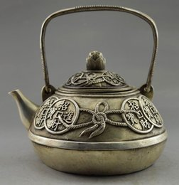 $enCountryForm.capitalKeyWord NZ - Exquisite Chinese Collectible Decorated Old Handwork White Copper Bring Money Coin Auspicious Teapot