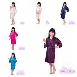 Wholesale 6 Colors Fashion Children Sleepwear Kid's Solid Silk Kimono Robe for Party Night Gown Pajamas CCA6355 60pcs