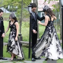 color high low wedding dresses Canada - 2017 Vintage Black And White Tea Length Wedding Dresses Cheap Scoop Capped Sleeve Lace Applique High Low Bridal Gowns Custom EN11062