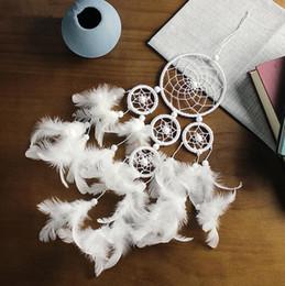 $enCountryForm.capitalKeyWord Australia - Hot Nautical Home Wedding Decor Dream Catcher Circular With White Feathers Wall Hanging Decoration Decor Craft suncatcher