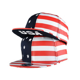 Flat Hats For Women NZ - 2017 Unisex American Flag Printing Baseball Cap Flat Striped Brim Caps Stars Hip hop Gorras Hat Snapback Hats For Women And Men
